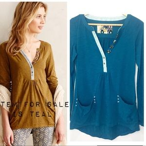 Anthropologie Little Yellow Button Top